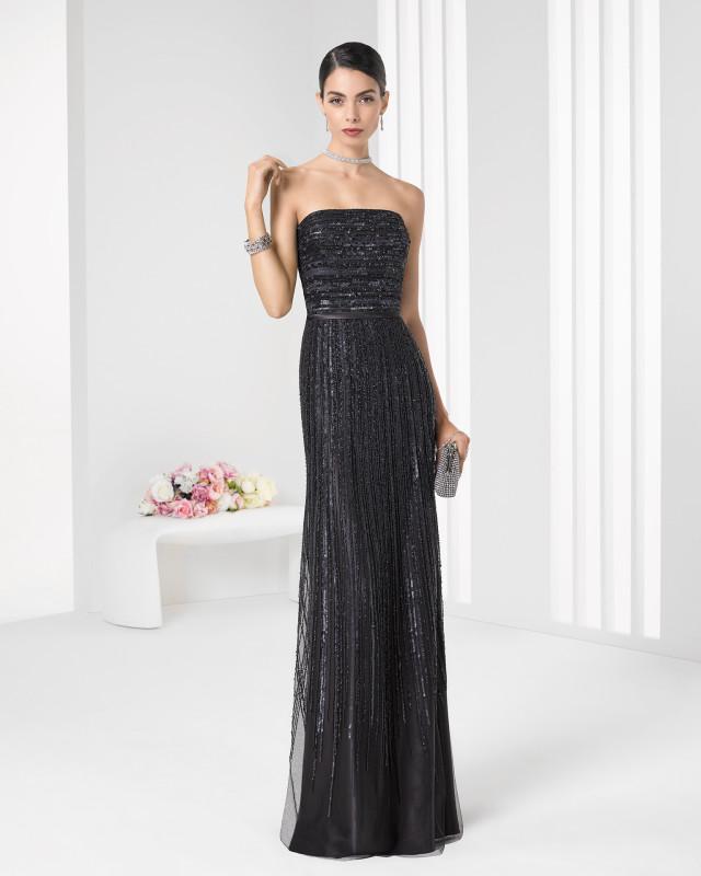 Vestido negro brillante modelo 9T2D6 de la colección 20160 Rosa Clará