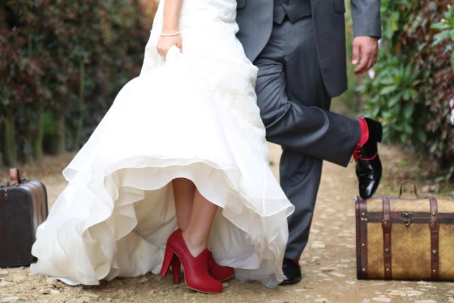 Zapatos de rojos de novia