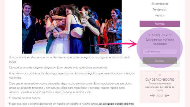 Newsletter de Velo de Vainilla